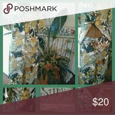 SURYA 2pc Pant Outfit Beautiful Tropical Print with Turquiose & Gold Sequin embellishment on upper portion of top & pant leg hem. Pair with your favorite sandals & sun hat or dress it up with heels & clutch. Whether going on a cruise, weekend boating or girls luncheon, the possibilities are endless!! Top is  XS / Pants have drawstring closure for adjustable fit.  Flowing pant legs make for absolute comfort & style. Colors green, brown, gold, turquiose. Surya  Other