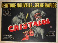 Peinture Nouvelle A Seche Rapide - Cristalol. French original vintage horizontal poster. This original antique poster features a three elephants painting the lettering