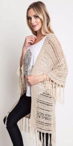 Umgee-Sheer-Knit-Sweater-Wrap-Fringe-Trim-Boho-Chic-Hippie-Gypsy-Tan-A9676 #Unique_Boho_Style