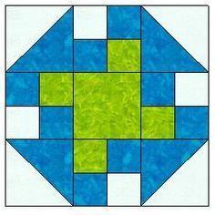 Prairie Queen Block... 1 center square, 4 4-patch, 4 half square triangles