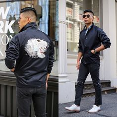 Get this look: http://lb.nu/look/8334979  More looks by Leo Chan: http://lb.nu/levitatestyle  Items in this look:  Marc Jacobs Embroidered Tiger Jacket  …