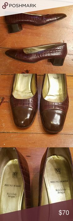 Bruno Magli classic 10A leather pumps Spectacular made in Italy Bologna brown leather pumps are true classics. Fantastic condition,  some normal wear on the leather soles,  otherwise they look practically brand new. Bruno Magli Shoes Heels