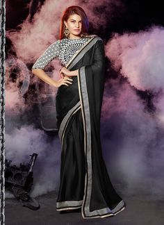 Black Jacqueline Fernandez Saree