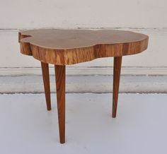 Teak Burl Slice Side Table with Teak Legs Cut from Solid Slice of Tree Trunk  OneAvailable in Los Angeles