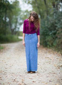 9af647029e608 Modest Women s Ellie Long Denim Skirt