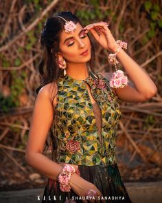 Bottle Green Lehenga In Satin With Multi Color Floral Print And Resham Embroidered Crop Top Online - Kalki Fashion Indian Outfits, Indian Clothes, Green Lehenga, Crop Tops Online, Lehenga Style, Green Fabric, Indian Fashion, Blouse Designs, Floral Prints