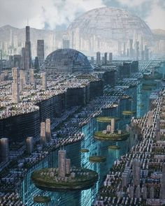 Fantasy City, Fantasy Places, Sci Fi Fantasy, Fantasy World, Fantasy Art Landscapes, Fantasy Landscape, Landscape Art, Futuristic City, Futuristic Architecture