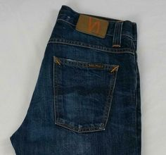 Nudie Average Joe Navy Embo Wash Straight Jeans Button Fly Cotton 30 X 32 Slim Pants, Trouser Pants, Jeans Fit, Brown Chinos, Carhartt Work In Progress, Average Joe, Mens Flannel, Nudie Jeans, Jeans Button