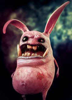 Little Bunny by Rafael Z. Chies, via Behance 3d Character, Character Design, Image 3d, Rabbit Art, Creepy Art, Little Monsters, Illustrations, Creature Design, Fantasy Creatures