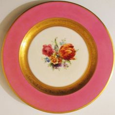 Black-Knight-Pink-amp-Gold-Encrusted-Porcelain-Cabinet-Plate-Flowers-Gorgeous