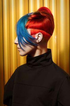 This shape, different colors Creative Haircuts, Natural Hair Styles, Short Hair Styles, Edgy Hair, Fantasy Hair, Hair Shows, Stylish Hair, Rainbow Hair, Great Hair