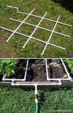 Top 20 Low-Cost DIY Gardening Projects: PVC watering grid will help you become more efficient in watering the garden.
