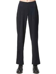 Porto's classic, straight-leg pant has been updated in technical fabric for travel. Hidden elastic waist creates a fitted look with stretch. Invisible front zipper allows easy dressing. Made in the U.S.A. Straight Leg Pants, Simple Dresses, Elastic Waist, Dressing, Zipper, Classic, Fitness, Easy, Fabric