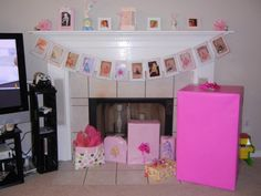 1-12 months banner. So easy to make. Scrapbook paper, pictures and yarn!