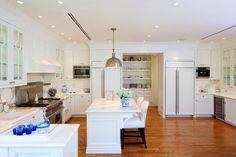 Refrigerator and microwave back corner of kitchen
