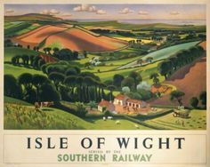Poster produced by Southern Railway (SR) to promote rail and sea services to the Isle of Wight. The poster shows a panoramic view of green rolling hills, pastures and grazing animals with the sea in the distance. Artwork by Allinson. Posters Uk, Train Posters, Railway Posters, Poster Prints, Retro Posters, Art Prints, England Travel Poster, Grazing Animals, National Railway Museum