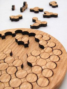 $22.95 Wooden Circles Geometric Puzzle - Red Oak Laser Cut Wood Jigsaw Puzzle - Sustainable Wisconsin Wood - Tagt Team - Timber Green Woods