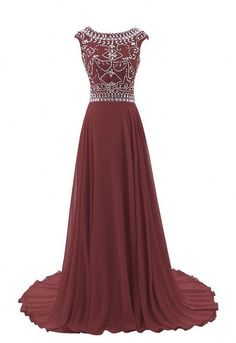 Vantop Dress Women's Cap Sleeve Beading Bridesmaid Evening Prom Dress Burgandy US22