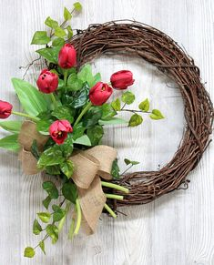 Spring Tulip Wreath Spring Wreaths Wreaths Mother's Day