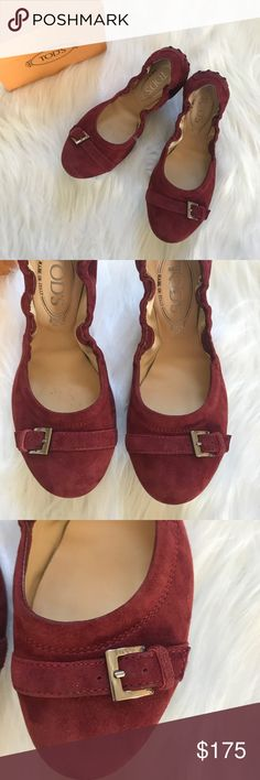 Tod's ballet flats. New with box. Very comfortable suede flats by Tod's. Color is burgundy. Tod's Shoes Flats & Loafers
