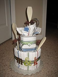 Tea towel cake for bridal shower