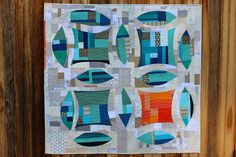 Improv double wedding ring quilt