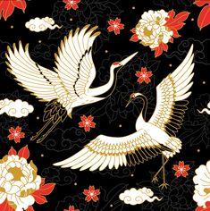 Japanese Cranes & Sacred Snakes - Colombiamoda 2018 on Behance Japanese Drawings, Japanese Artwork, Japanese Tattoo Art, Japanese Prints, Japanese Tattoo Symbols, Japanese Textiles, Japanese Patterns, Crane Drawing, Japanese Crane