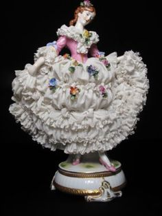 Lot: 272: DRESDEN GERMANY PORCELAIN LACE FIGURINE OF LADY, Lot Number: 0272, Starting Bid: $120, Auctioneer: Auctions Neapolitan , Auction: AUCTIONS NEAPOLITAN - Jan 23 at 1pm (EST), Date: January 23rd, 2010 CET