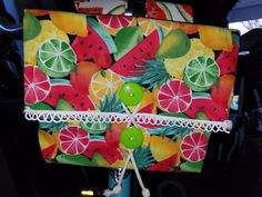 Excited to share the latest addition to my #etsy shop: Handlebar Bicycle Bag (Fruit Cocktail Tote) http://etsy.me/2FM4pUn #bagsandpurses #rainbow #square #red #green #yellow #buttons #bicycle #bike