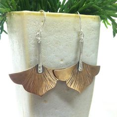 Mieka Earrings Floral Hammered Bronze and by MidnightPacific: