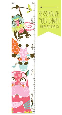 What a cool growth chart for a little girls room, and it can be personalized!