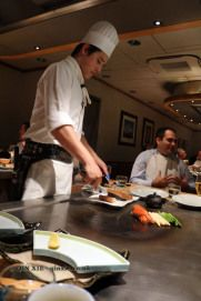 Chef cooking on the teppan, The Matsuri, St James Saint James, Chefs, Saints, Dinner, Cooking, Food, Santos, Cucina, Suppers