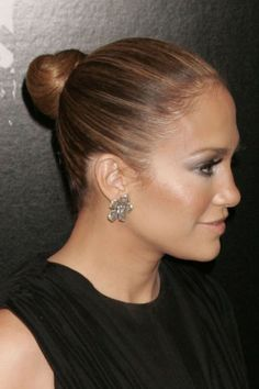 Jennifer Lopezs sleek bun hairstyle