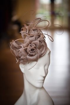 Taupe Grazia rose quill Pillbox hat