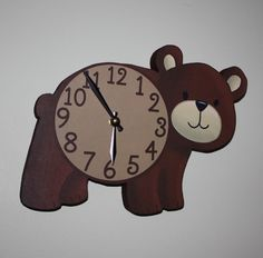 Brown Bear Woodland Forest Friends Animal Wooden WALL CLOCK Kids Bedroom Baby Nursery