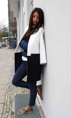 navy and white coat for fall