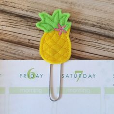 Pineapple - yellow - Planner clip, bookmark, page clip, paper clip, planner accessories by createdbydanielle1 on Etsy https://www.etsy.com/listing/227579054/pineapple-yellow-planner-clip-bookmark