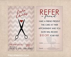 hair salon referral cards, hairstylist referral cards, referral cards for hair salons, referral cards for hairstylists - New Deko Sites Salon Promotions, Home Hair Salons, Beauty Business Cards, Referral Cards, Salon Names, Business Hairstyles, Salon Business, Hair Shop, Salon Style