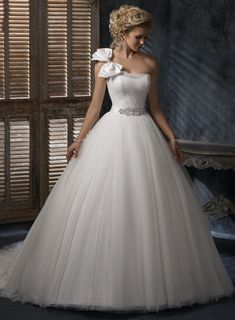 One Shoulder Ball Gown Ruffle Tulle bridal gown