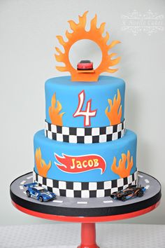 Hot wheels theme birthday cake by K Noelle Cakes