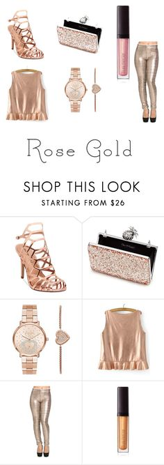"""""""Rose gold: night out"""" by awesomesullivan ❤ liked on Polyvore featuring Madden Girl, Miss Selfridge, Michael Kors and Laura Mercier"""