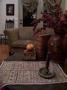 Fall Picture's~~2015 Linda B. www.picturetrail.com/theprimitivestitcher Primitive Living Room, Primitive Homes, Primitive Furniture, Primitive Antiques, Primitive Fall, Primitive Decor, Primitive Country, Prim Decor, Country Decor