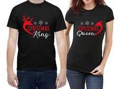 Christmas king and queen  Matching couple shirts  100% organic cotton t-shirts. They are is soft, resistant, ring-spun and exceptionally smooth. Comfortable body length, medium fit.  Lightweight, 140 g/m2, to be weareable all year long.   ***it is not an unisex model, male and female have masculine and feminine silhouette*** Matching Couple Shirts, Organic Cotton T Shirts, Small Shops, Graphic Shirts, Cool Shirts, Christmas Ideas, Smooth, Feminine, Silhouette