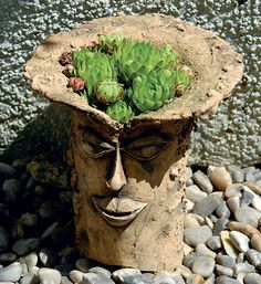 See related links to what you are looking for. Cement Art, Cement Crafts, Ceramic Flower Pots, Ceramic Planters, Face Planters, Diy Planters, Orchid Pot, Sculptures Céramiques, Succulent Pots