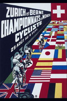Vintage Cycling Poster 'Zurich et Berne Championnats ou Monde Cycliste'