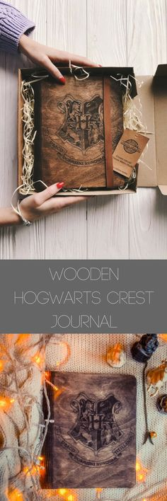 Hogwarts Crest Wooden Journal a unique gift for a #harrypotterfan Customizable paper color #affiliate #harrypotter #hogwarts #journal