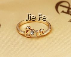 18K RGP Love Letters Alloy Cocktail Ring - Rings - Jewelry Free shipping