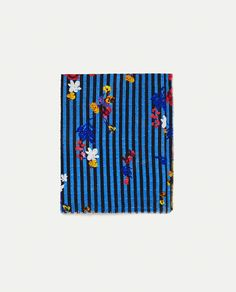 ZARA - WOMAN - COTTON SCARF WITH FLOWERS AND STRIPES