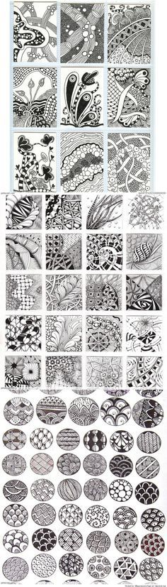 Zentangle Patterns & Ideas - be careful Zentangle is NAFF BEYOND BELIEF - done badly it looks like meaningless doodles