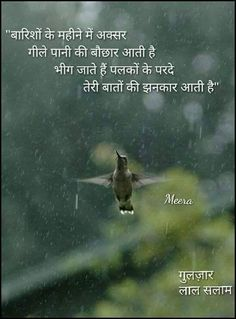Gerletha palkonse Tere haathonki jhnkaarse Beegna bi Accha lagtha hy hame. Rain Quotes In Hindi, Inspirational Quotes In Hindi, Sad Quotes, Best Quotes, Qoutes, Barish Quotes, Birthday Message For Friend, Gulzar Poetry, Crazy Girl Quotes